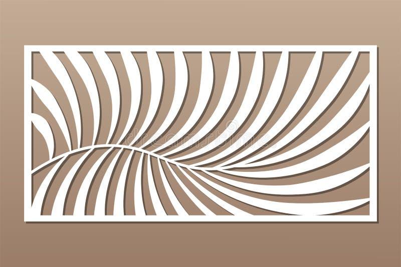 Cart?o decorativo para cortar Teste padr?o da palma de samambaia Painel do corte do laser 1:2 da rela??o Ilustra??o do vetor ilustração stock