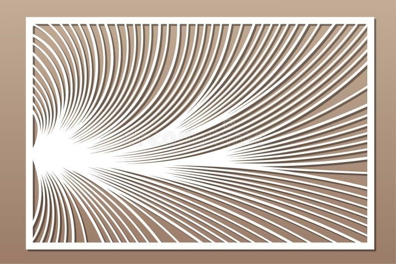 Cart?o decorativo para cortar Teste padr?o linear abstrato Painel do corte do laser 2:3 da rela??o Ilustra??o do vetor ilustração royalty free