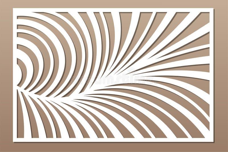 Cart?o decorativo para cortar Teste padr?o linear abstrato Painel do corte do laser 2:3 da rela??o Ilustra??o do vetor ilustração do vetor
