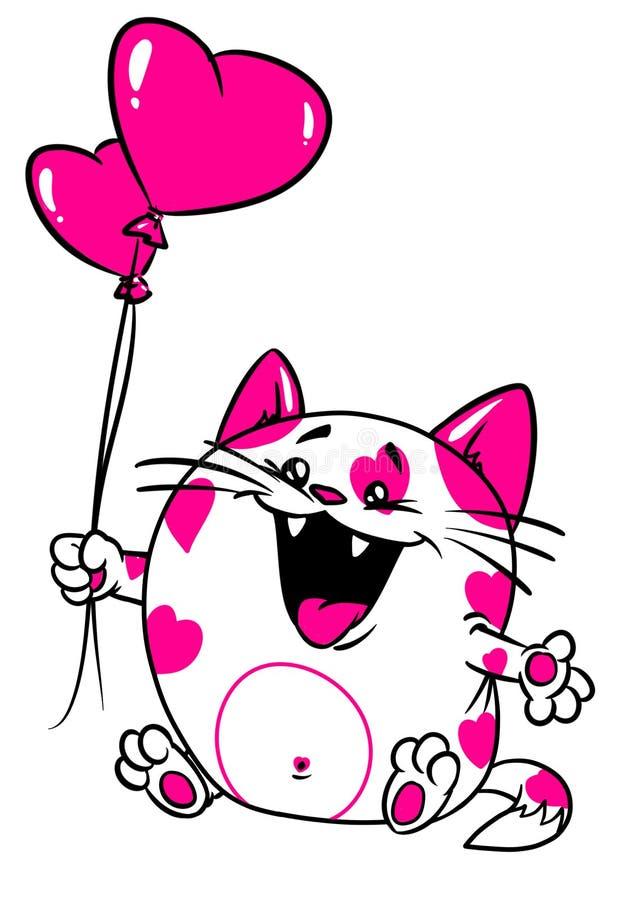 Cart?o do amor do Valentim do gato ilustração stock