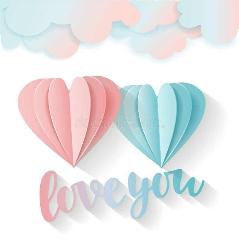 Cart?o do amor para o dia do ` s do Valentim Amor da rotula??o voc? rosa do voo 3D e cora??o de papel azul e nuvens Dois cora??es ilustração royalty free