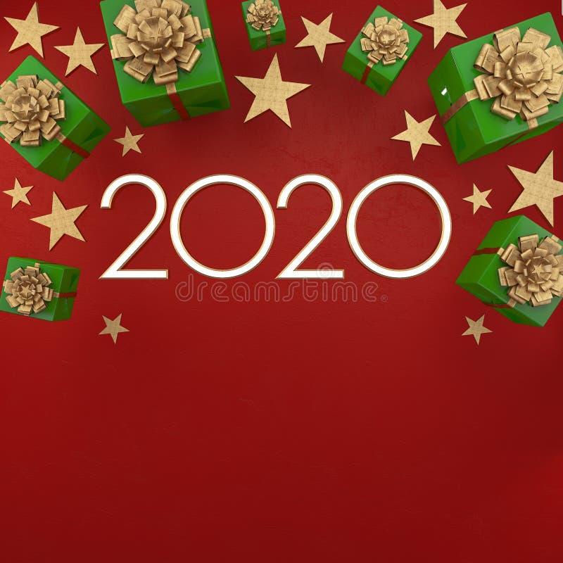 Cart?o do ano 2020 novo feliz Fundo do Natal com presentes e as estrelas de prata com espaço livre para o texto ilustração stock