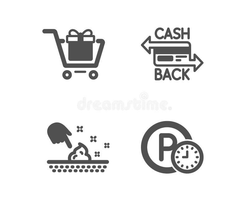 Cart?o do carrinho de compras, do Cashback e de umidade da pele ?cones Sinal de estacionamento do tempo Caixa de presente, pagame ilustração do vetor