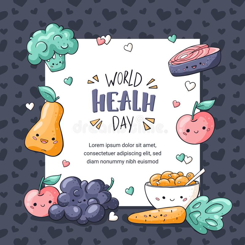 Cart?o do dia de sa?de de mundo Cartão saudável do alimento no estilo da garatuja Pera de Kawaii, maçã, muesli, uva, brócolis, ce ilustração royalty free