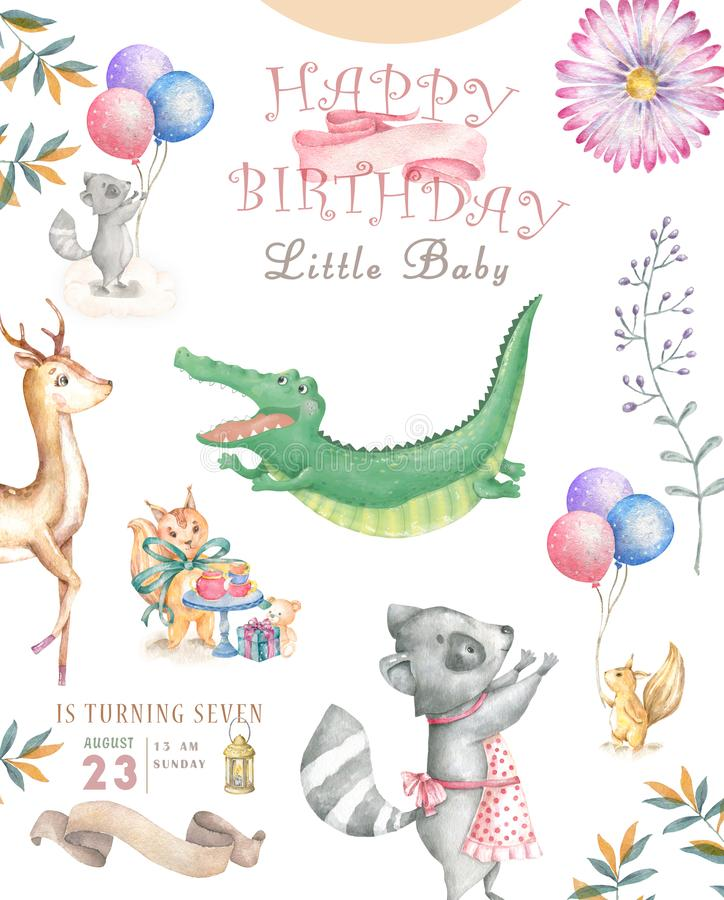 Cart?o do feliz aniversario com o animal bonito de Croc Dandy Watercolor Cart?o bonito do BEB? Flores de Boho e ramalhetes florai ilustração royalty free