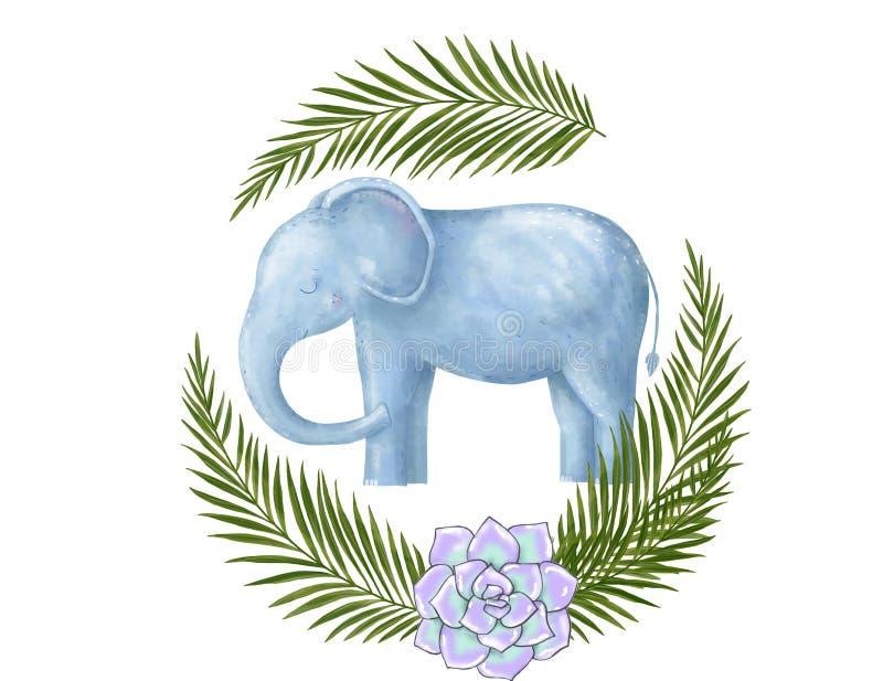 Cart?o do feliz aniversario com o animal bonito da aquarela do elefante Cart?o bonito do BEB? Feliz aniversario das flores de Boh ilustração royalty free