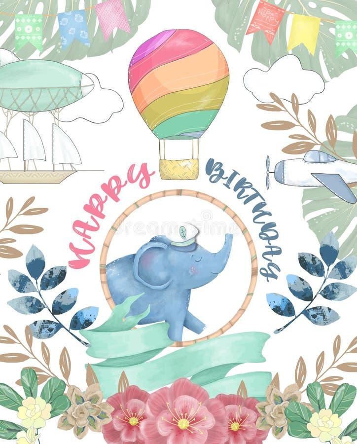 Cart?o do feliz aniversario com o animal bonito da aquarela do elefante Cart?o bonito do BEB? Feliz aniversario das flores de Boh ilustração do vetor