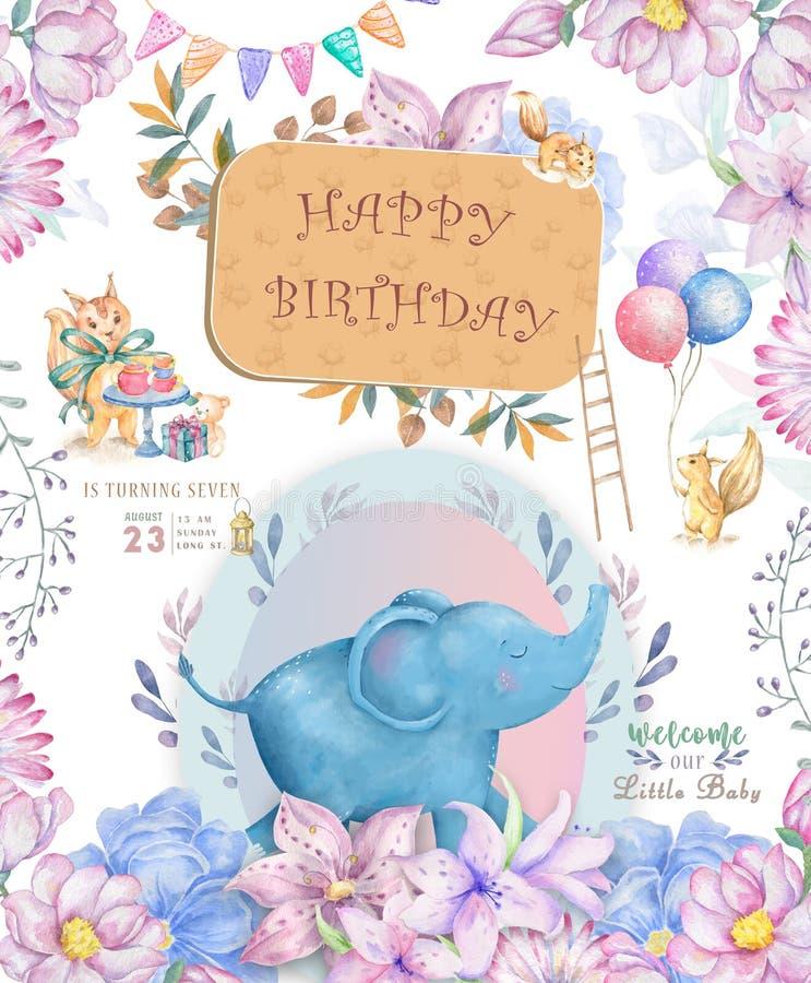 Cart?o do feliz aniversario com o animal bonito da aquarela do elefante Cart?o bonito do BEB? Feliz aniversario das flores de Boh ilustração stock