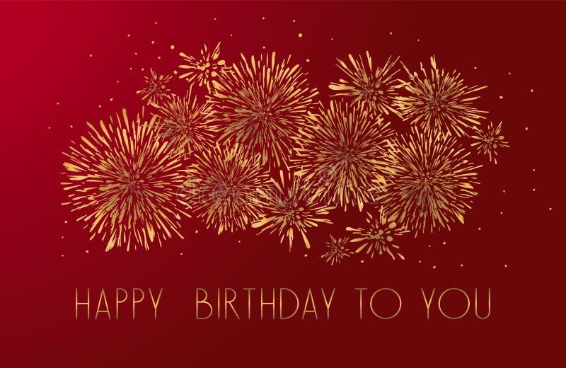 Cart?o do feliz aniversario com projeto de rotula??o Fundo vermelho dos fogos de artif?cio dourados do brilho ilustração stock