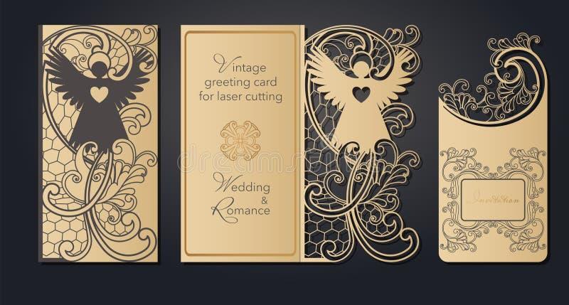 Cart?o do molde para o corte do laser Corte a c?u aberto do papel, cart?o para o casamento, P?scoa, anivers?rio Mola ilustração stock