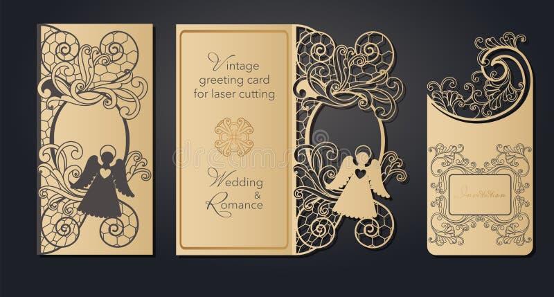Cart?o do molde para o corte do laser Corte a c?u aberto do papel, cart?o para o casamento, P?scoa, anivers?rio Mola ilustração do vetor
