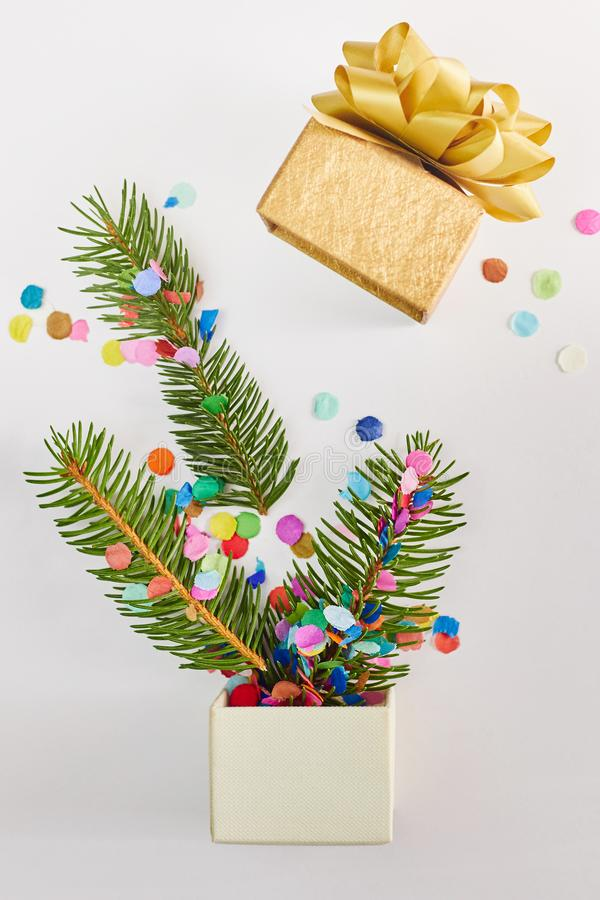 Cart?o do Natal e do ano novo Ramos do abeto na caixa de presente sobre o fundo branco fotografia de stock