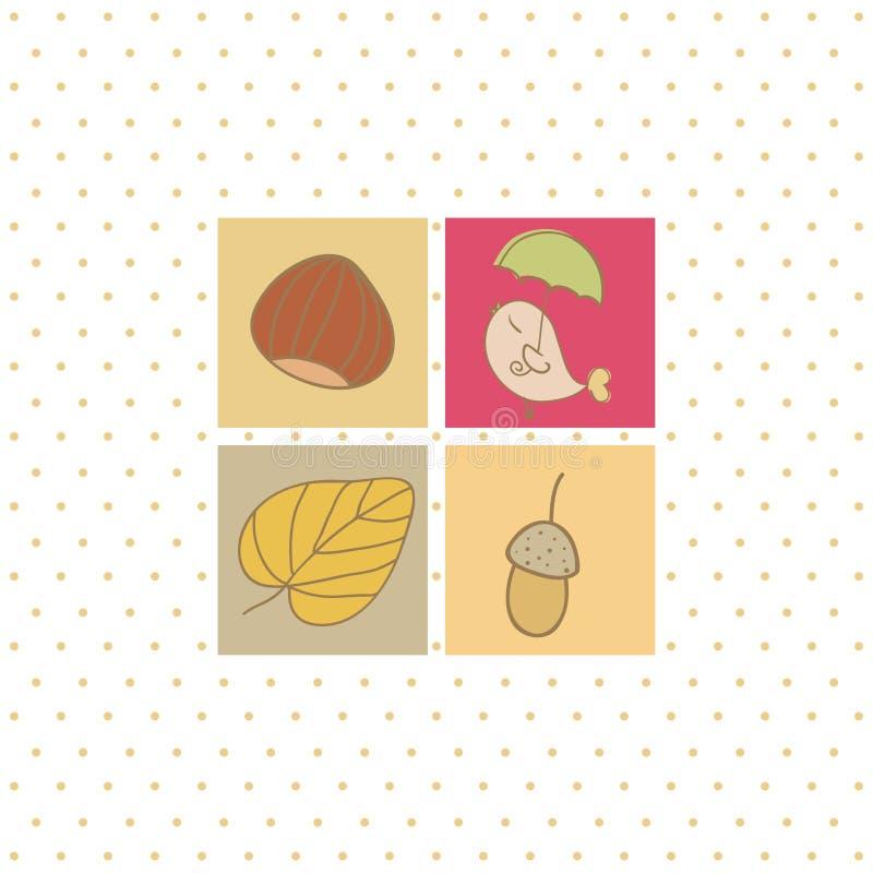 Cart?o do outono com quatro s?mbolos ilustração do vetor
