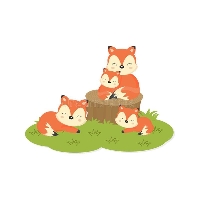 Cart?o feliz da fam?lia Família bonito das raposas ilustração stock