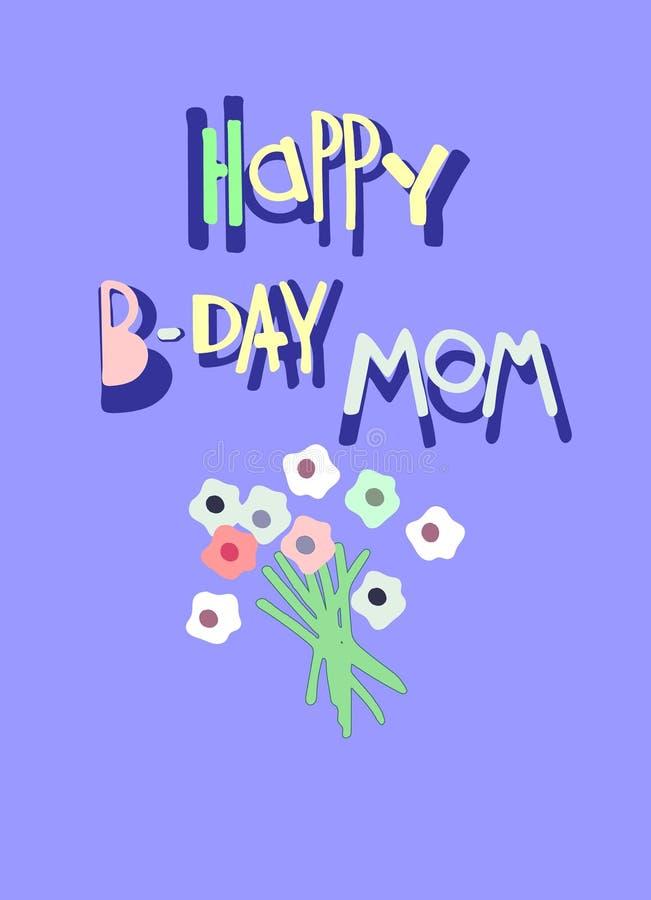 Cart?o feliz da mam? de B-dia Rotulação tirada mão e um grupo de flores Cores delicadas, projeto minimalistic ilustração stock