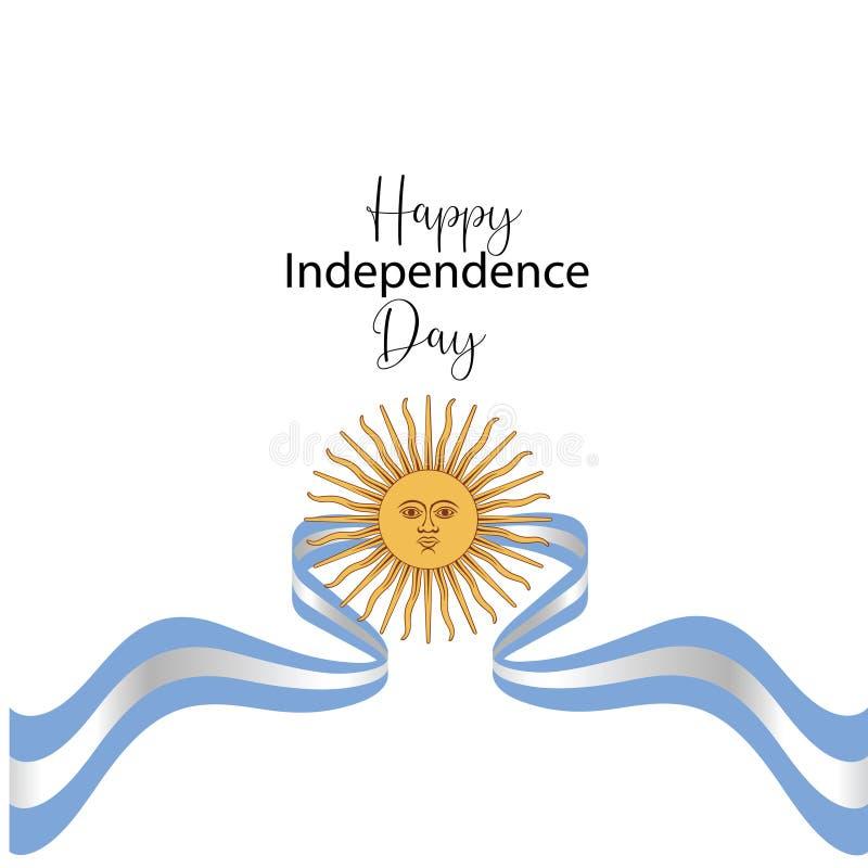 Cart?o feliz do Dia da Independ?ncia de Argentina, bandeira, ilustra??o do vetor - vetor ilustração do vetor