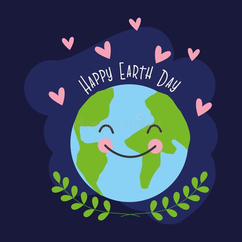 Cart?o feliz do Dia da Terra ilustração royalty free