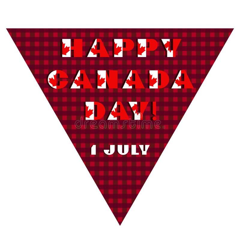 Cart?o feliz do dia de Canad? Teste padr?o com tipografia moderna da cor vermelha e branca para o projeto da celebra??o, inseto,  ilustração stock