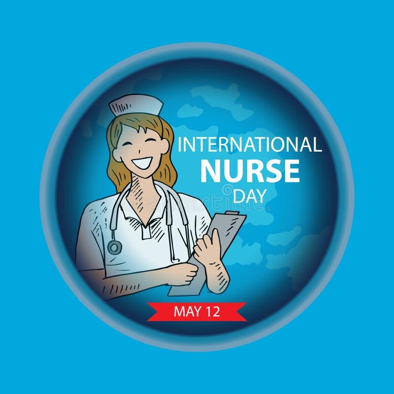 Cart?o internacional do dia da enfermeira ilustração stock