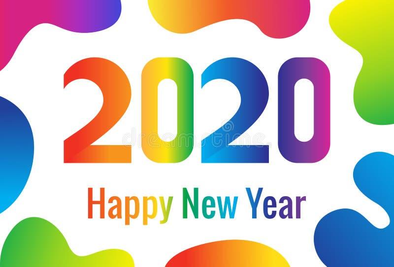 Cart?o ? moda Ano novo feliz 2020 Números do inclinação do arco-íris Fundo abstrato com formas fluidas do inclina??o ilustração stock