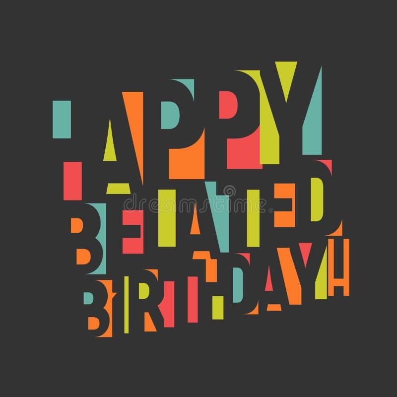 Cart?o para o anivers?rio Letras e confetes coloridos no fundo preto Vetor de Congrats do feliz aniversario ilustração royalty free