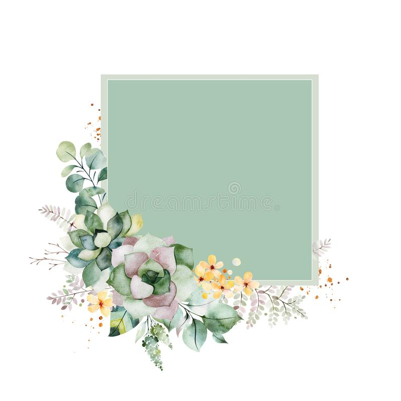 cart?o Pre-feito com folha, folhas da samambaia, ramos, as flores amarelas e o mais ilustração stock