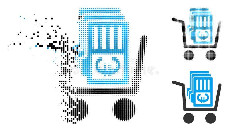 Cart rastrerad eurokassa för det splittrade PIXELet ut symbolen royaltyfri illustrationer