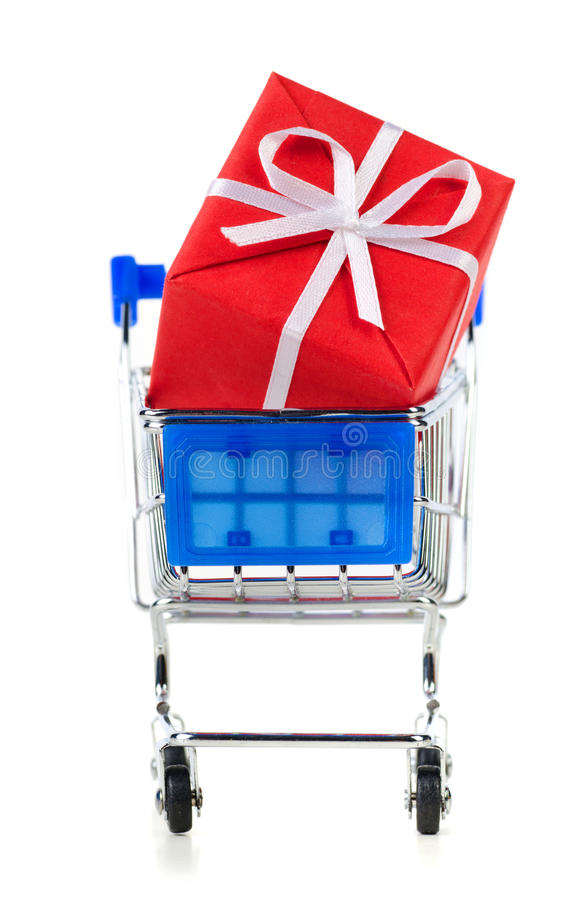 Cart With Red Gift Box Royalty Free Stock Image