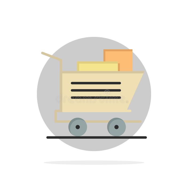 Cart, Shopping, Basket Abstract Circle Background Flat color Icon stock illustration