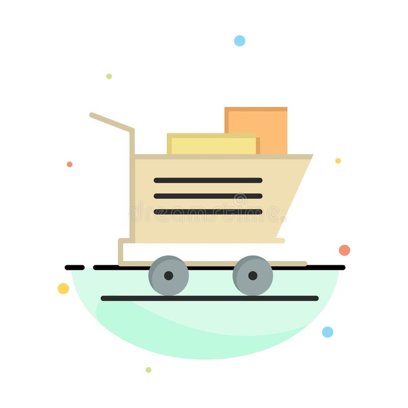 Cart, Shopping, Basket Abstract Flat Color Icon Template vector illustration