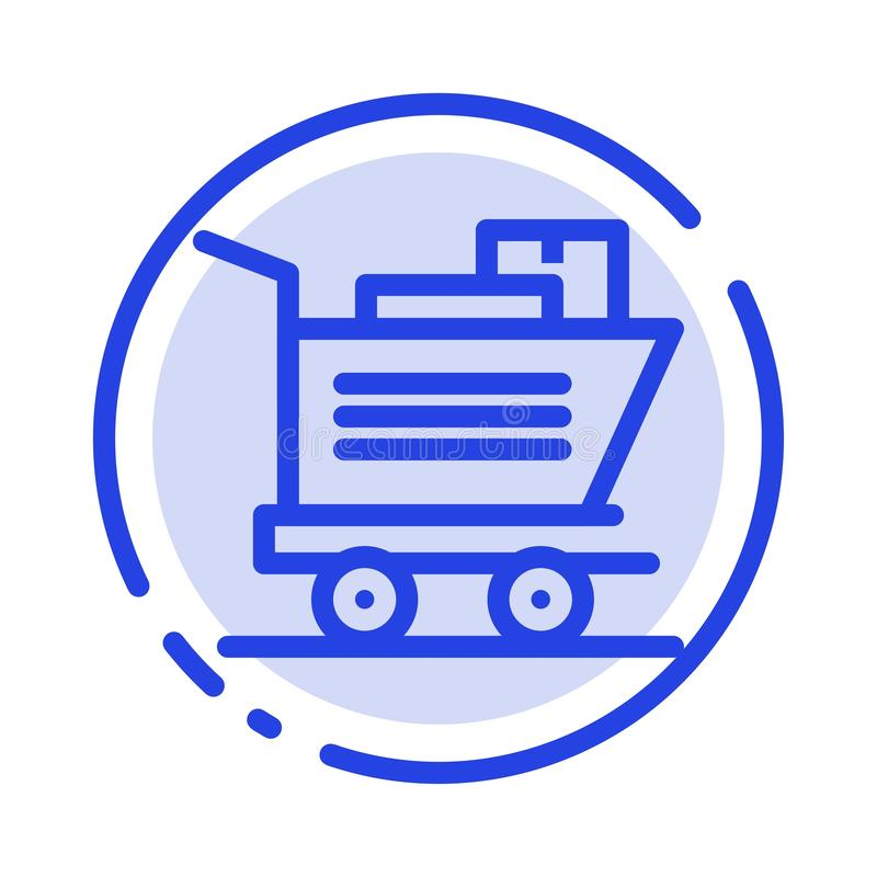 Cart, Shopping, Basket Blue Dotted Line Line Icon royalty free illustration