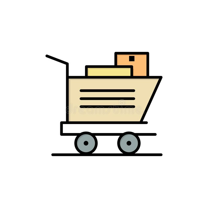 Cart, Shopping, Basket  Flat Color Icon. Vector icon banner Template royalty free illustration