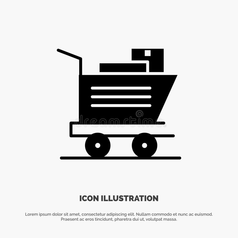Cart, Shopping, Basket Solid Black Glyph Icon vector illustration