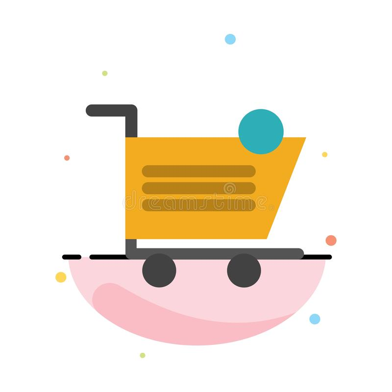 Cart, Shopping, Shipping, Item, Store Abstract Flat Color Icon Template vector illustration