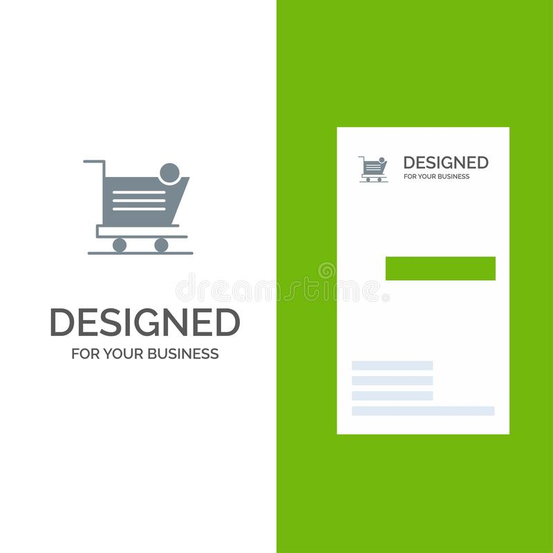 Cart, Shopping, Shipping, Item, Store Grey Logo Design and Business Card Template vector illustration