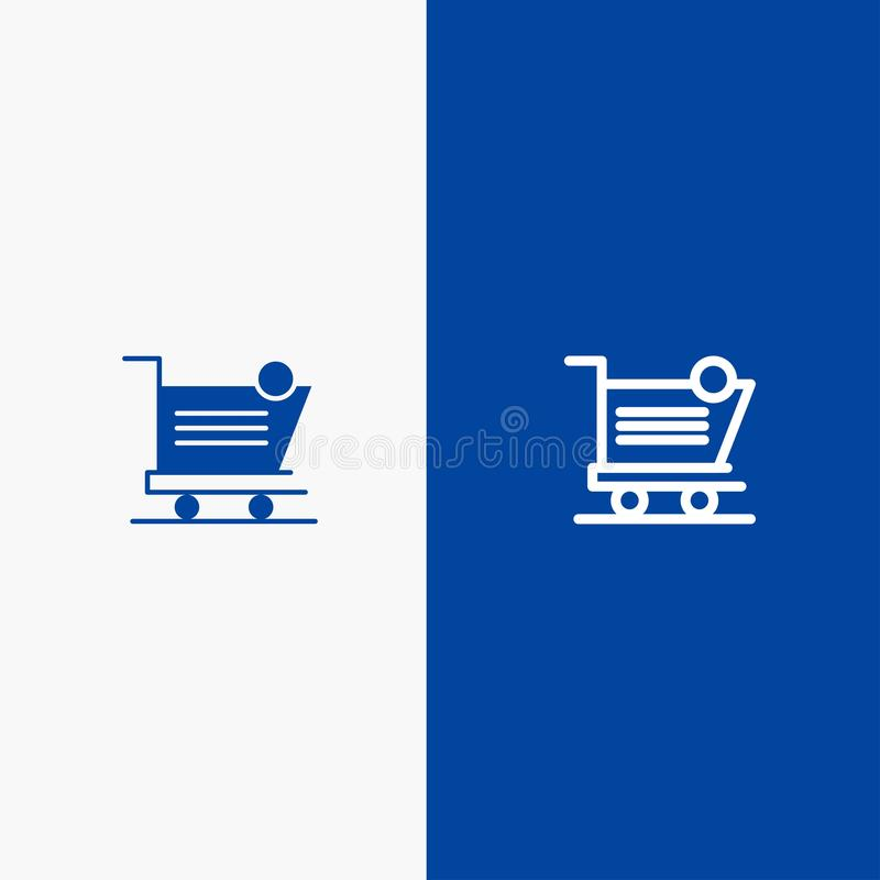 Cart, Shopping, Shipping, Item, Store Line and Glyph Solid icon Blue banner Line and Glyph Solid icon Blue banner stock illustration