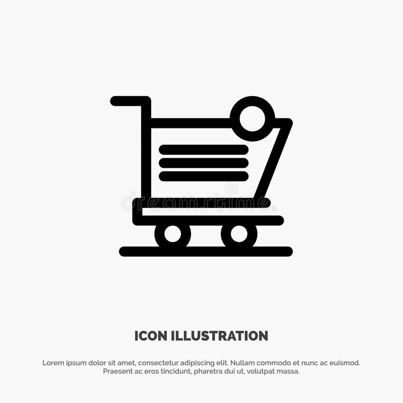 Cart, Shopping, Shipping, Item, Store Line Icon Vector vector illustration