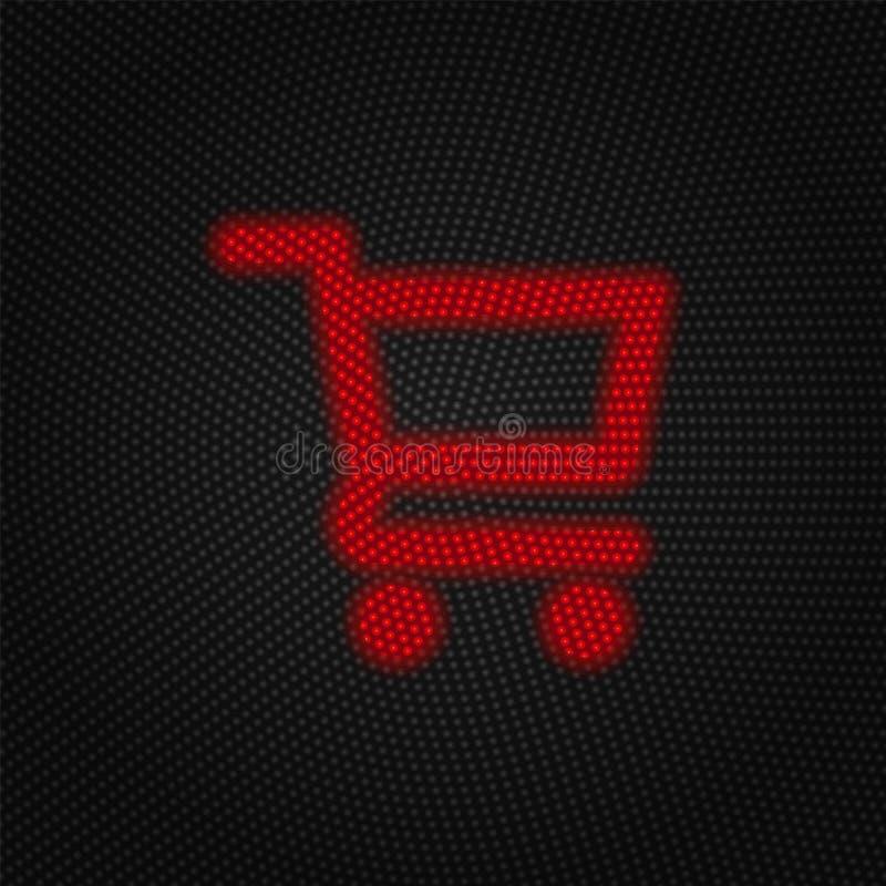 Cart, shopping vector icon. Traffic light, retro style. Cart, shopping vector icon. Finance concept vector illustration. On white background royalty free illustration