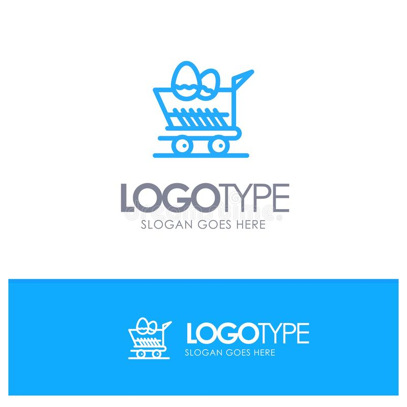 Cart, Trolley, Easter, Shopping Blue Outline Logo Place for Tagline royalty free illustration