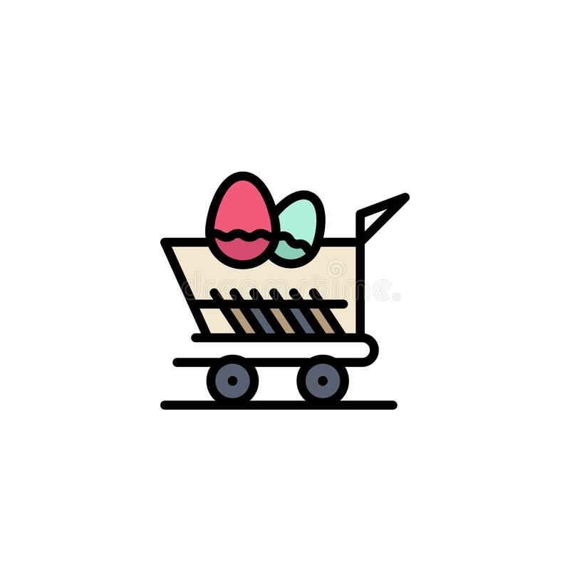 Cart, Trolley, Easter, Shopping Business Logo Template. Flat Color stock illustration