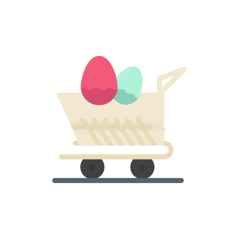 Cart, Trolley, Easter, Shopping  Flat Color Icon. Vector icon banner Template stock illustration