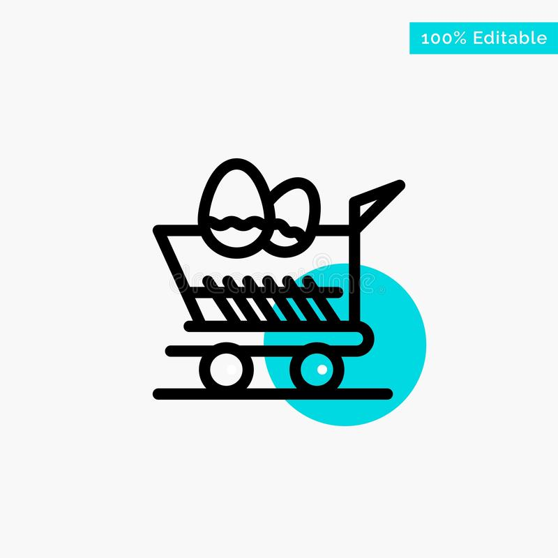 Cart, Trolley, Easter, Shopping turquoise highlight circle point Vector icon royalty free illustration