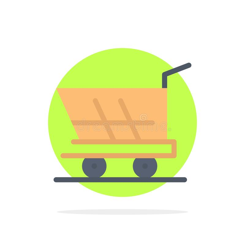 Cart, Trolley, Shopping, Buy Abstract Circle Background Flat color Icon stock illustration