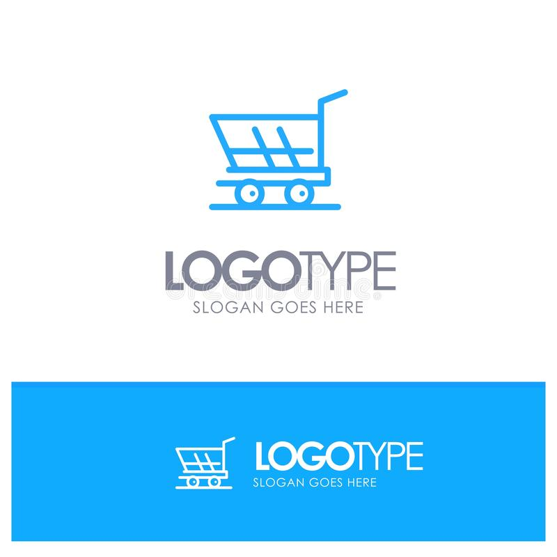 Cart, Trolley, Shopping, Buy Blue Outline Logo Place for Tagline royalty free illustration