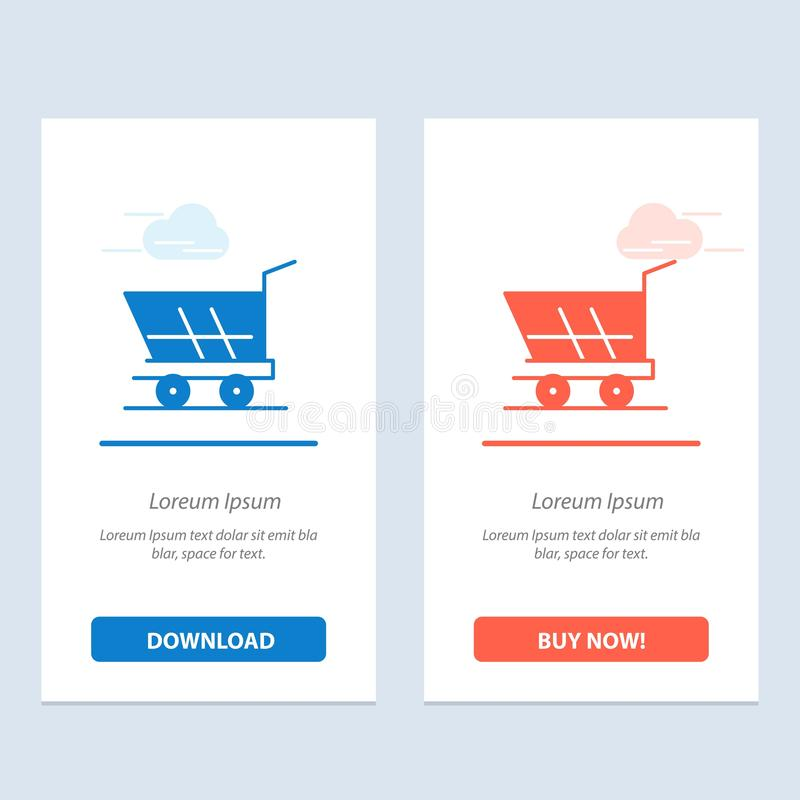 Cart, Trolley, Shopping, Buy  Blue and Red Download and Buy Now web Widget Card Template royalty free illustration