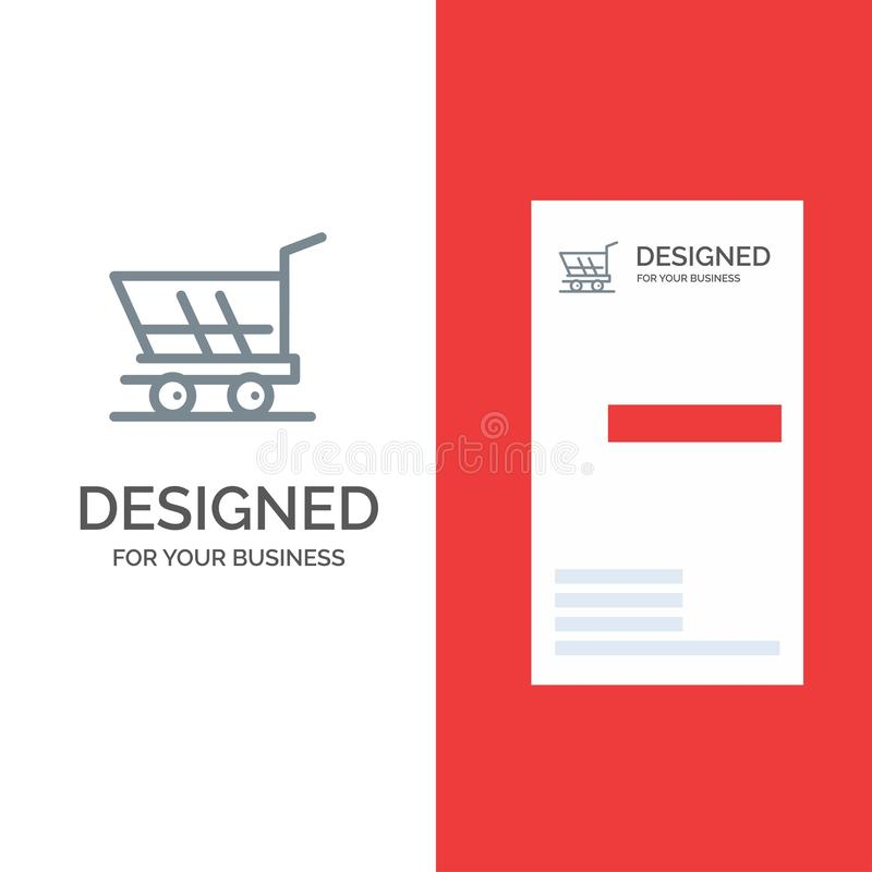 Cart, Trolley, Shopping, Buy Grey Logo Design and Business Card Template vector illustration