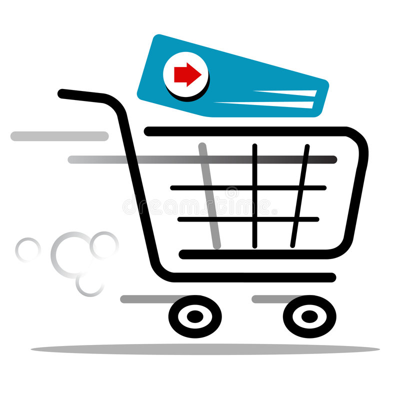Cart vector icon. Proceed to checkout cart web icon royalty free illustration