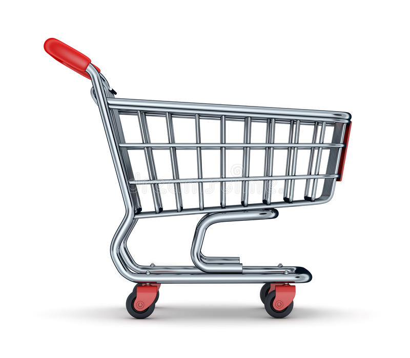 Cart view from side. On a white background (done in 3d rendering royalty free illustration