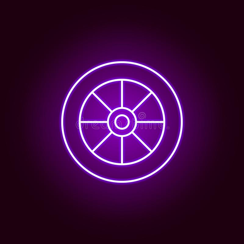 cart wheel outline icon in neon style. Elements of car repair illustration in neon style icon. Signs and symbols can be used for vector illustration