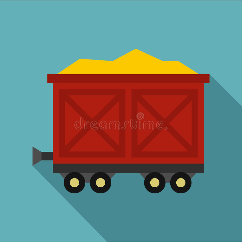 Cart on wheels with gold icon, flat style. Cart on wheels with gold icon. Flat illustration of cart on wheels with gold vector icon for web vector illustration